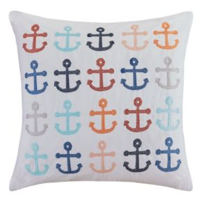 HipStyle Ahoy Anchor Embroidered Throw Pillow