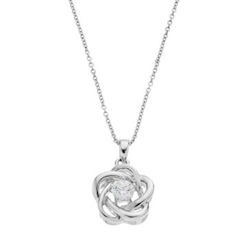 Illuminaire Cubic Zirconia Love Knot Pendant Necklace