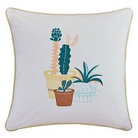 HipStyle Green Thumb Succulent Embroidered Throw Pillow
