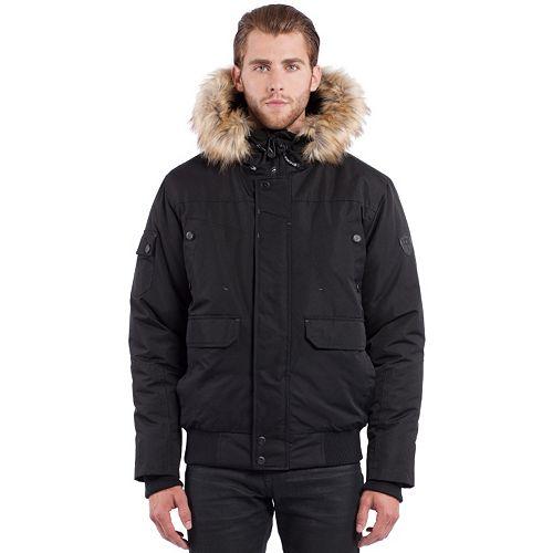 Noize Faux-Fur Hooded Bomber Jacket