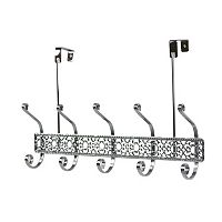 Home Basics Chrome Over The Door 5 Hook Hanging Rack