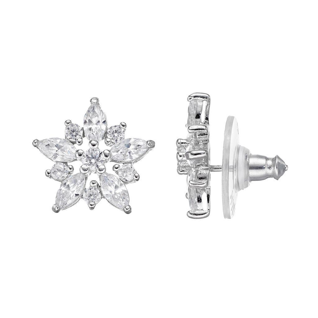 PRIMROSE Sterling Silver Cubic Zirconia Star Stud Earrings