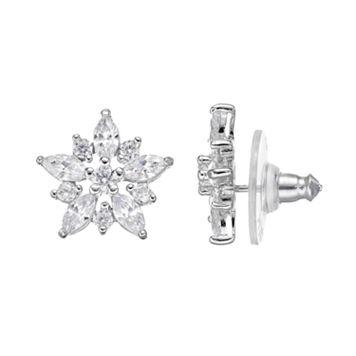 PRIMROSE Sterling Silver Cubic Zirconia Star Stud Earrings
