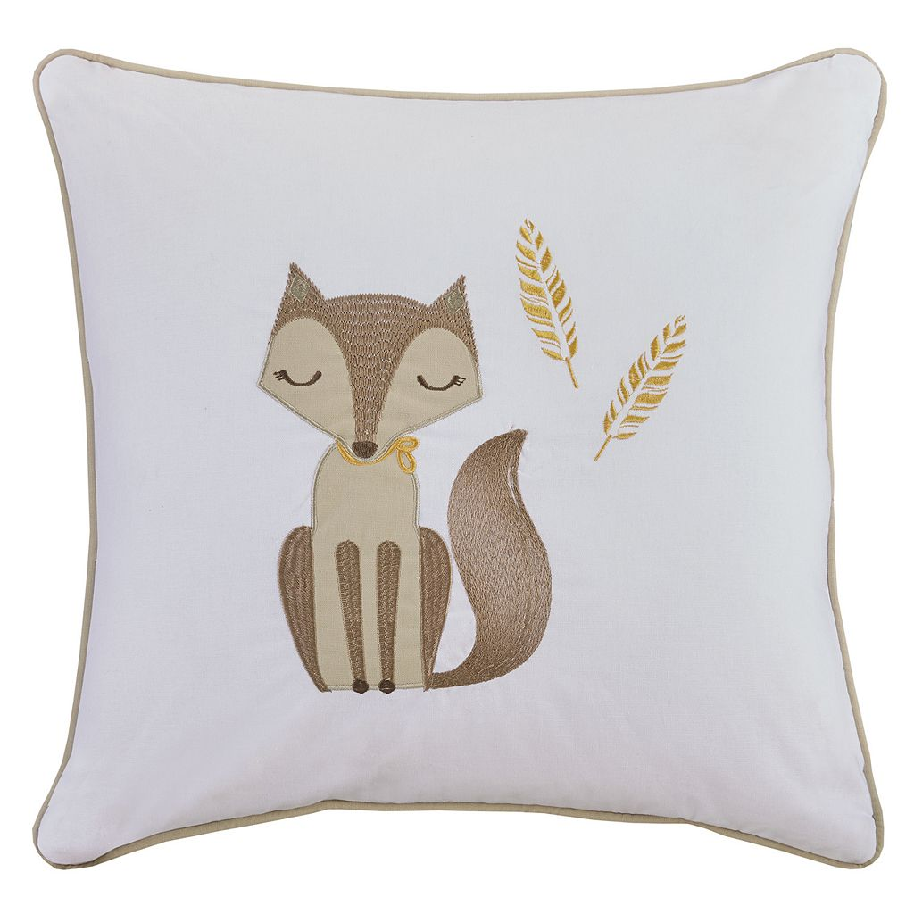 HipStyle Bashful Vixie Fox Embroidered Throw Pillow