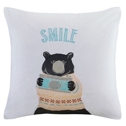 HipStyle Photographer Ben the Bear Embroidered Throw Pillow
