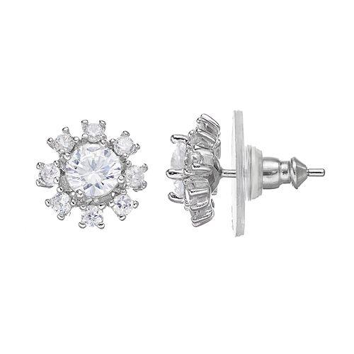 PRIMROSE Sterling Silver Cubic Zirconia Flower Stud Earrings
