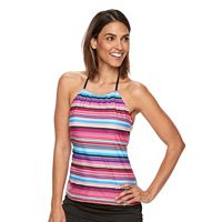 Women's Croft & Barrow® Striped High-Neck Halterkini Top