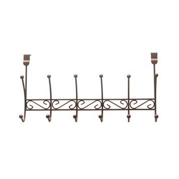 Home Basics Bronze Over The Door 6 Hook Hanging Rack