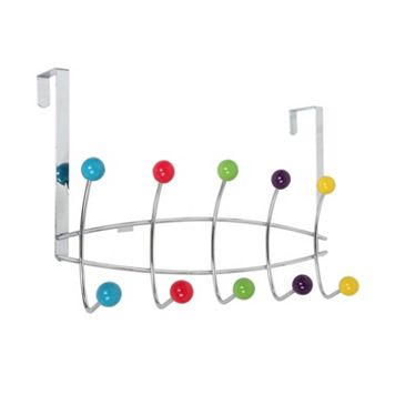 Home Basics Chrome Over The Door 5 Hook Hanging Rack