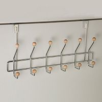 Home Basics Chrome Over The Door 6 Hook Hanging Rack