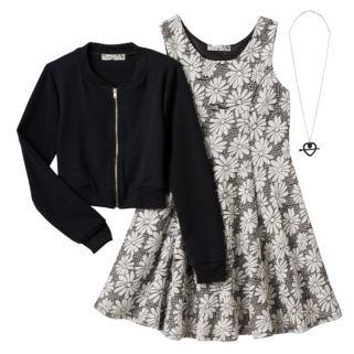 Girls 7-16 Knitworks Textured Bomber Jacket & Burnout Flower Dress with Necklace Set