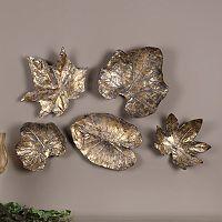 Bronze Finish Metal Leaves Wall Decor 5 pc Set