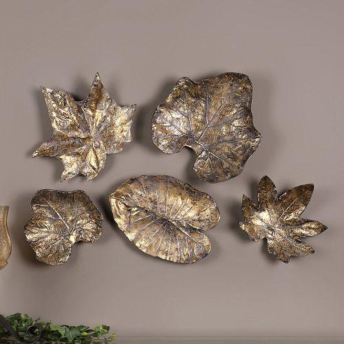 Bronze Finish Metal Leaves Wall Decor 5-piece Set