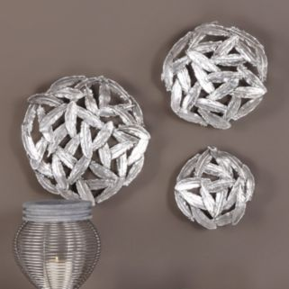 Metallic Finish Feather Wall Decor 3-piece Set