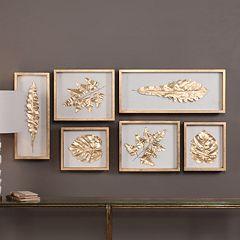 Gold Finish Leaves Shadow Box Wall Decor 6-piece Set