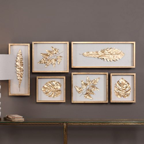 Gold Finish Leaves Shadow Box Wall Decor 6-piece Set