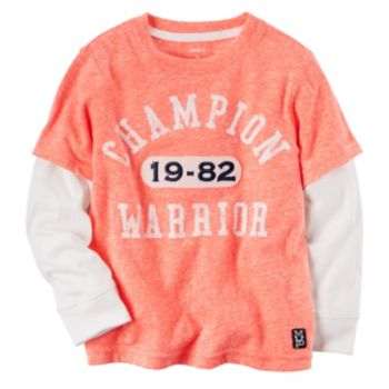 "Boys 4-8 Carter's ""Champion Warrior"" Mock-Layered Long Sleeve Graphic Tee"