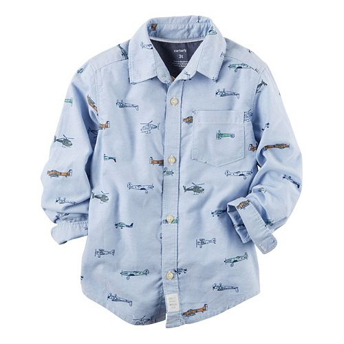 Boys 4-8 Carter's Oxford Airplane & Helicopter Printed Button-Down Shirt