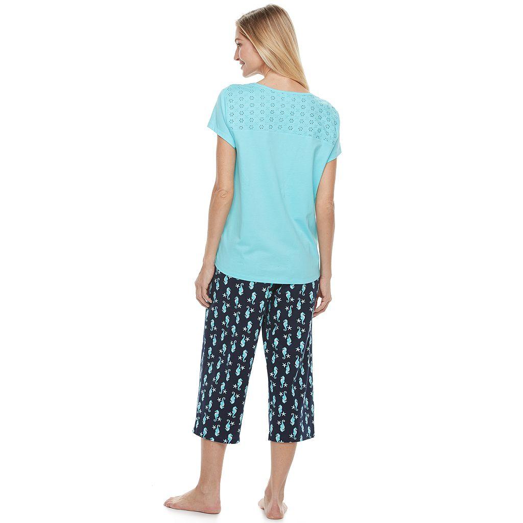 Women's Croft & Barrow® Pajamas: Mom's Day Short Sleeve Top & Capris PJ Set