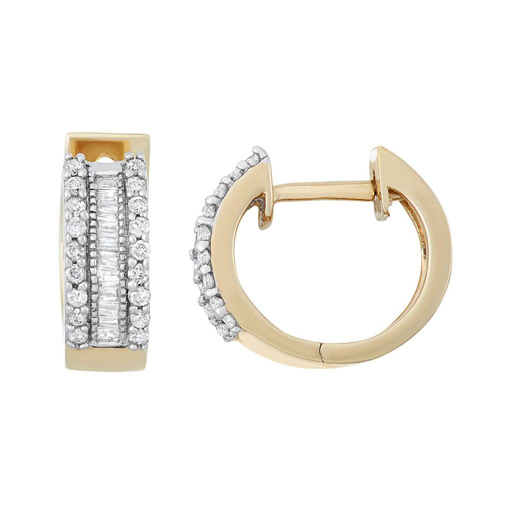 10k Yellow Gold 1/4 Carat T.W. Diamond Hoop Earrings