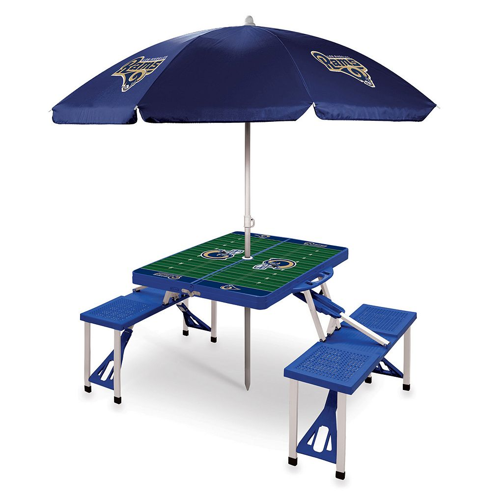 Picnic Time Los Angeles Rams Portable Table with Umbrella