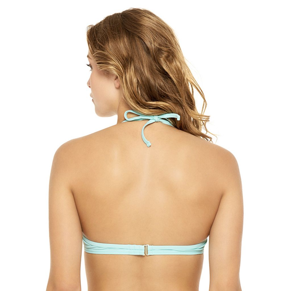 Juniors' Hot Water Twist-Front Push-Up Halter Bikini Top