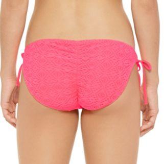 Juniors' Hot Water Crochet Shirred-Back Bikini Bottoms