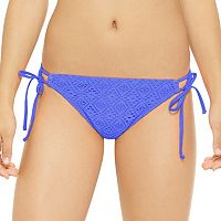 Juniors' Hot Water Crochet Shirred-Back Bikini Bottoms