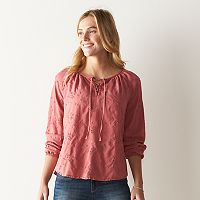 Women's SONOMA Goods for Life™ Eyelet Lace-Up Peasant Top