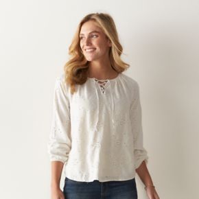 Women's SONOMA Goods for Life? Eyelet Lace-Up Peasant Top