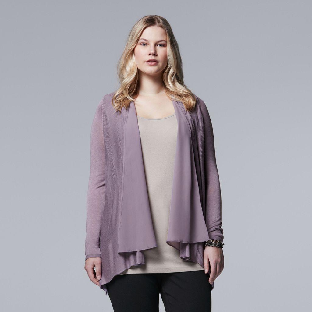 Plus Size Simply Vera Vera Wang Flyaway Cardigan