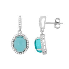 Sterling Silver Blue Glass & Cubic Zirconia Oval Halo Drop Earrings