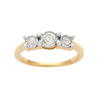 14k Gold Over Silver 1/2 Carat T.W. Diamond 3-Stone Ring