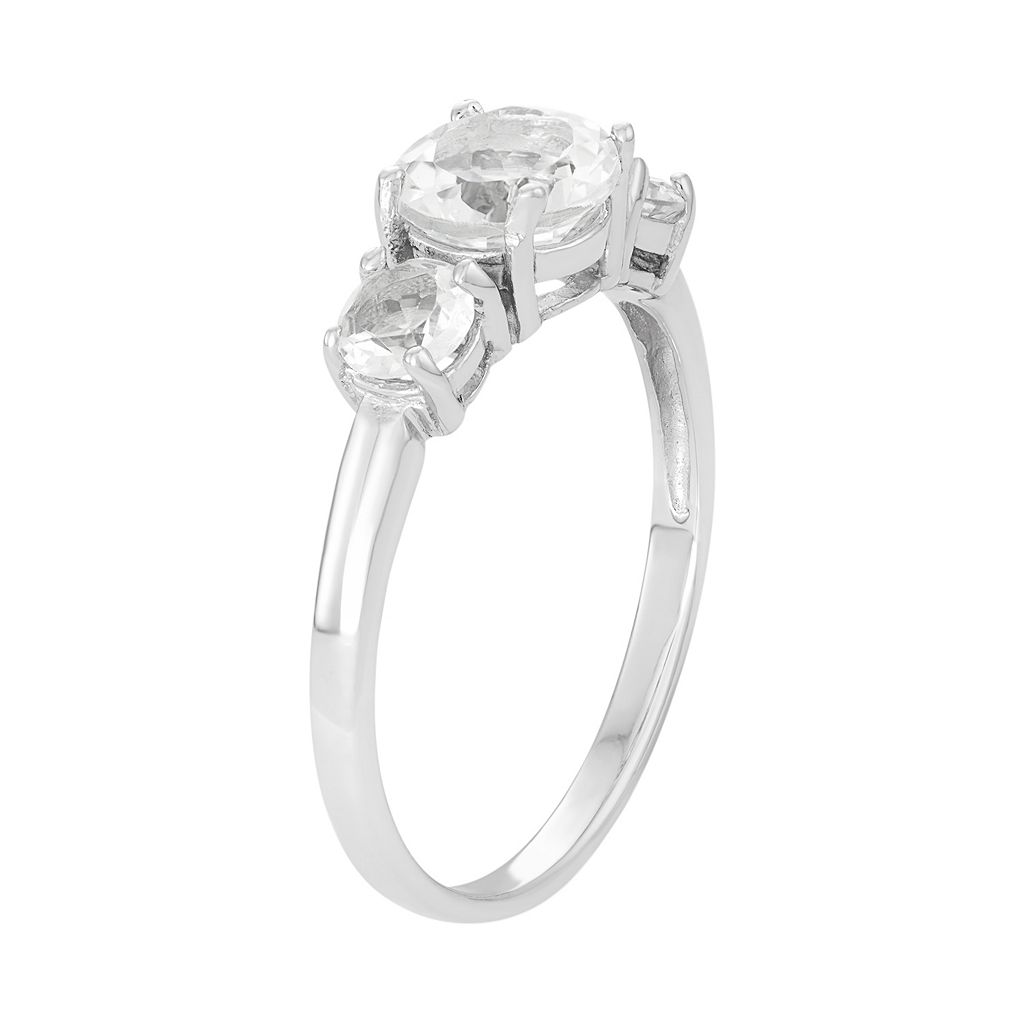 Sterling Silver Lab-Created White Sapphire 3-Stone Ring