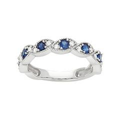 Sterling Silver Lab-Created Blue & White Sapphire  Scalloped Ring