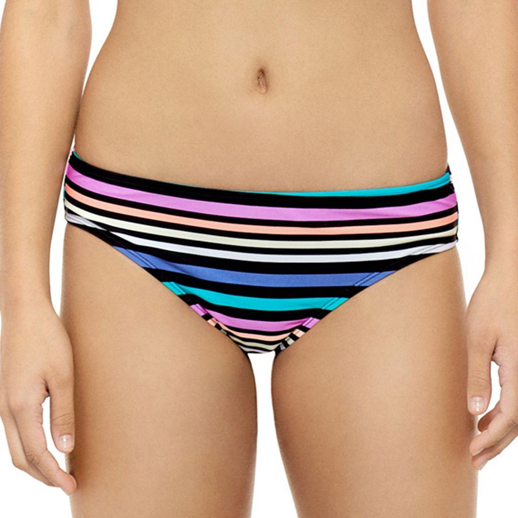 Juniors' Hot Water Striped Cheeky Bikini Bottoms