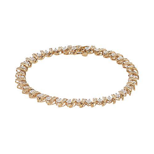 10k Gold 1 Carat T.W. Diamond Tennis Bracelet