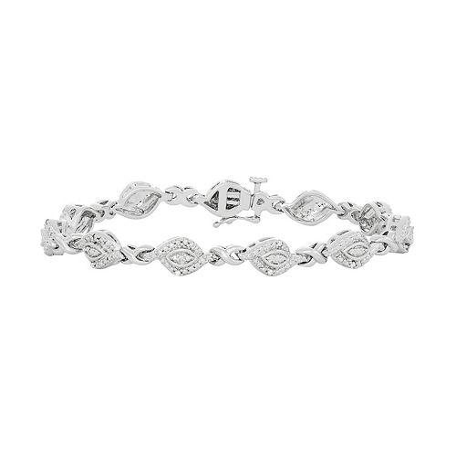 Silver Tone Diamond Accent Marquise Link Bracelet