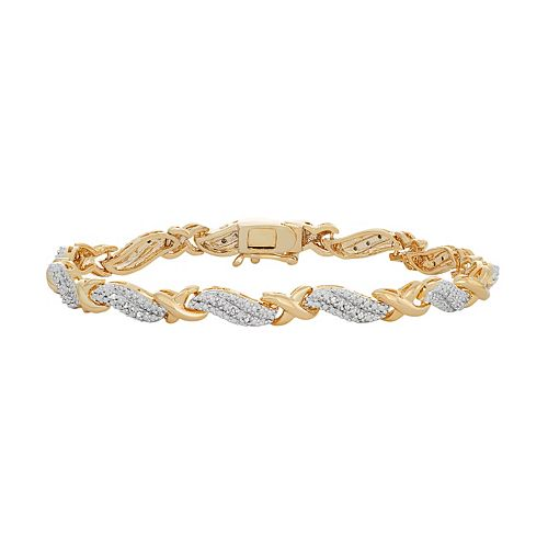 14k Gold Plated 1/4 Carat T.W. Diamond X Bracelet