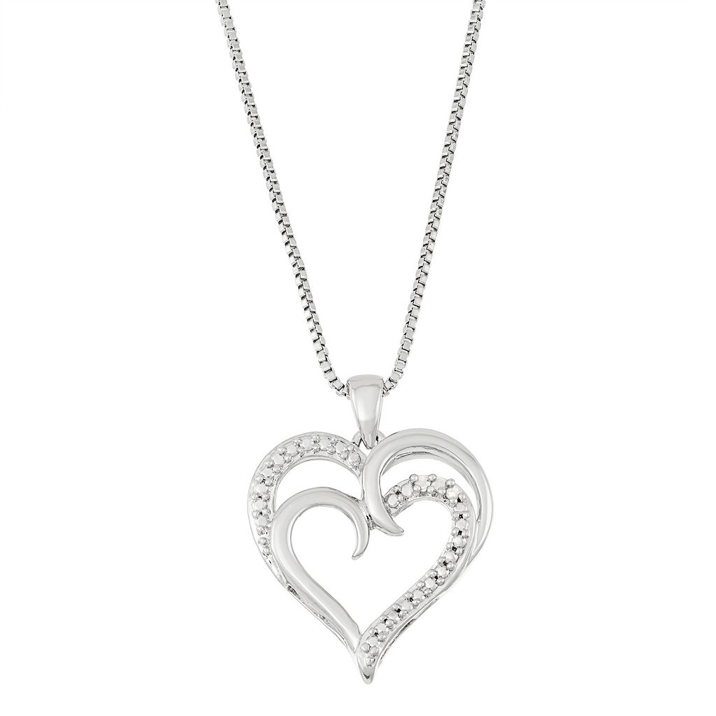 Silver Tone Diamond Accent Double Heart Pendant Necklace