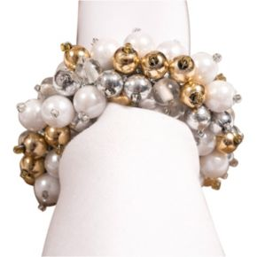 KAF HOME Silver & Gold Beaded Napkin Ring 8-pk.