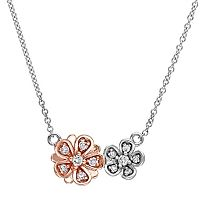 Laura Ashley Two Tone 10k Gold 1/6 Carat T.W. Diamond Flower Necklace