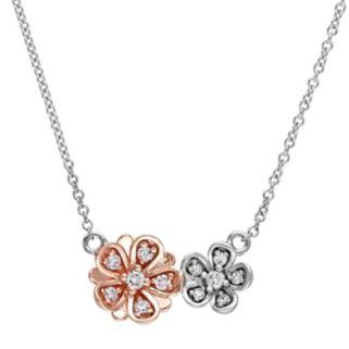 Laura Ashley Two Tone 10k Gold 1/6 Carat T.W. Diamond Flower Necklace