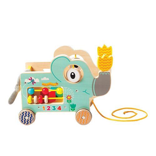 My Pal Elly Colorful Wooden Toddler Pull Along Activity Toy by Manhattan Toy