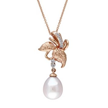 Laura Ashley 10k Rose Gold Freshwater Cultured Pearl & 1/10 Carat T.W. Diamond Leaf Pendant