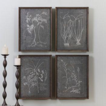 Root Study Tin Imprint Wall Decor 4-piece Set