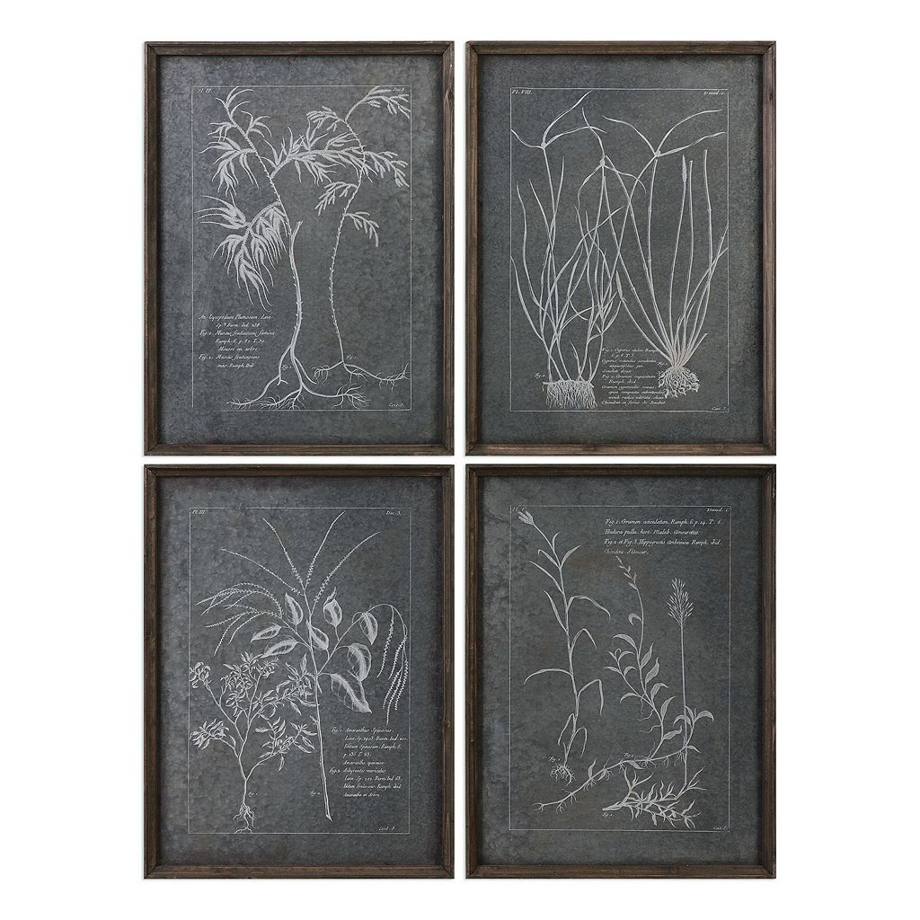 Root Study Tin Imprint Wall Decor 4-piece Set