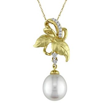 Laura Ashley 10k Gold Freshwater Cultured Pearl & 1/10 Carat T.W. Diamond Leaf Pendant