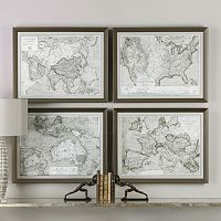 World Maps Framed Wall Art 4-piece Set
