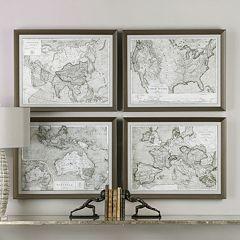 World Maps Framed Wall Art 4-piece Set